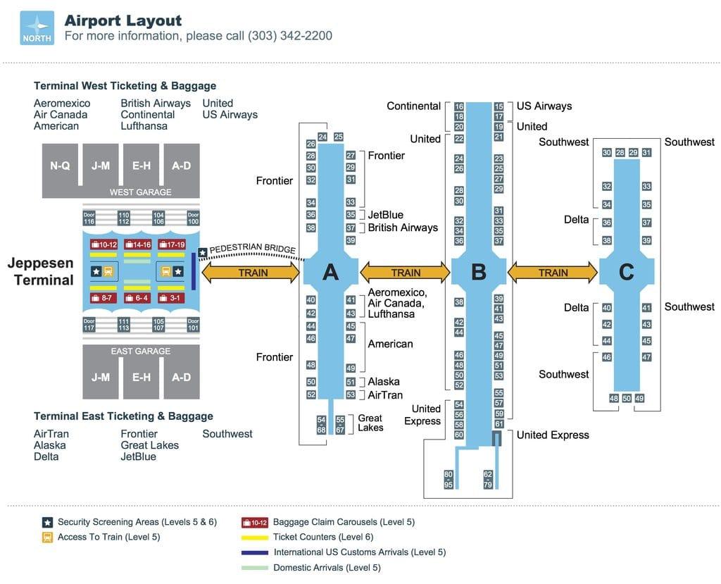 o que fazer em Denver: mapa do aeroporto
