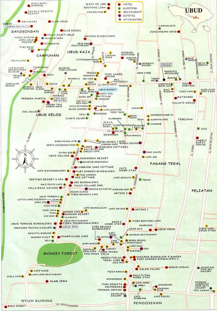mapa de bali - onde comer em bali