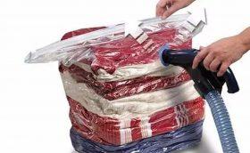 Embalagem a Vácuo - Kit com 5 embalagens de saco a vácuo para diminuir o tamanho das roupinhas. Uso em conjunto com o organizador de mala.